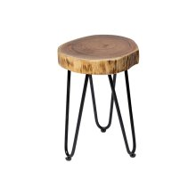 Deschutes Single Log Accent End Table with Black Hairpin Legs, RLE-56