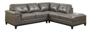 2pc Sectional W/5 Seats-rsf Chaise-lsf Love-grey Pu
