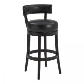 """Armen Living Corbin 26"""" Counter Height Barstool in Espresso Finish and Onyx Faux Leather"""