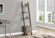 "BOOKCASE - 69""H / DARK TAUPE LADDER W/ STORAGE DRAWER"