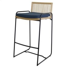 Virza Rattan Bar Stool, Deep Blue