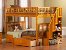 Woodland Staircase Bunk Bed Full over Full with Urban Bed Drawers in Caramel Latte