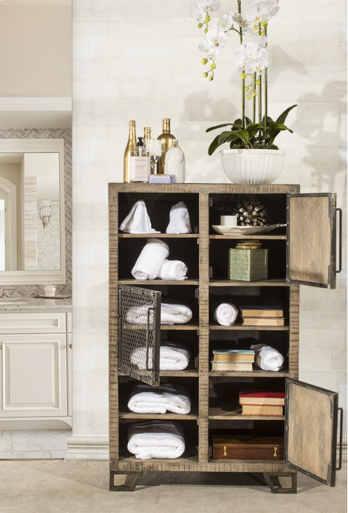 Bridgewater Tall Accent Cabinet - Brushed Tan Wood