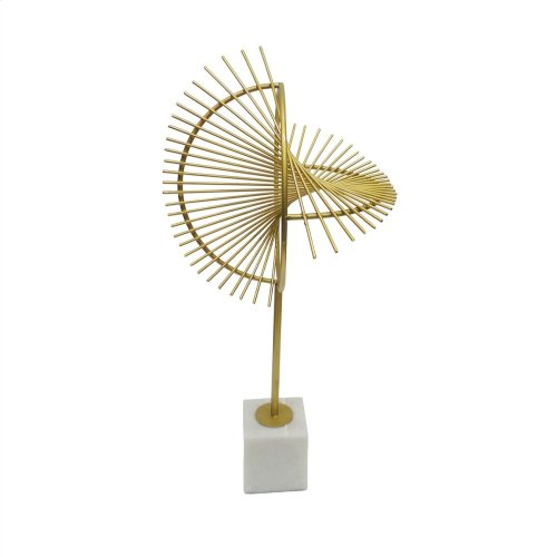"""Metal 20.5"""" Sculpture W/ Marble Stand, Gold"""