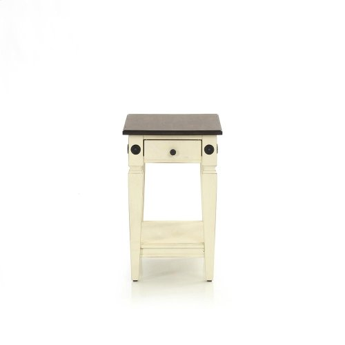 Living Room - Glennwood Chairside Table  White & Charcoal