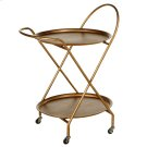 Antique Gold Two Tier Round Bar Cart. Product Image
