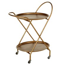 Antique Gold Two Tier Round Bar Cart