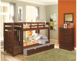 Heartland Reversible Staircase Twin over Twin with options: Chocolate, Twin over Twin, 2 Drawer Storage