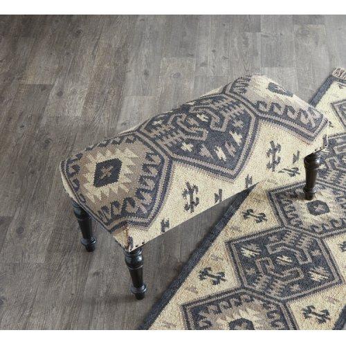 Black & Tan Kilim Upholstered Bench