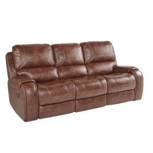 Keily Brown Reclining Sofa with Drop-Down Table & USB