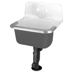 Akron Cast Iron Wall Mounted Service Sink - White
