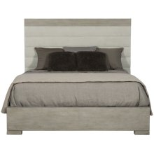 Queen-Sized Linea Upholstered Channel Bed in Cerused Greige (384)