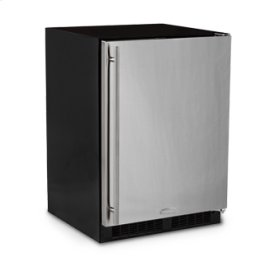 """Marvel 24"""" All Refrigerator with Drawer - Solid Stainless Steel Door - Left Hinge"""