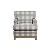 Upholstered Chair, Non Skirted. Avaliable with 5'' Plinth Base in Grey Wash, Cottage White, Royal Oak, Black Teak, White Teak, or Vintage smoke Finish.