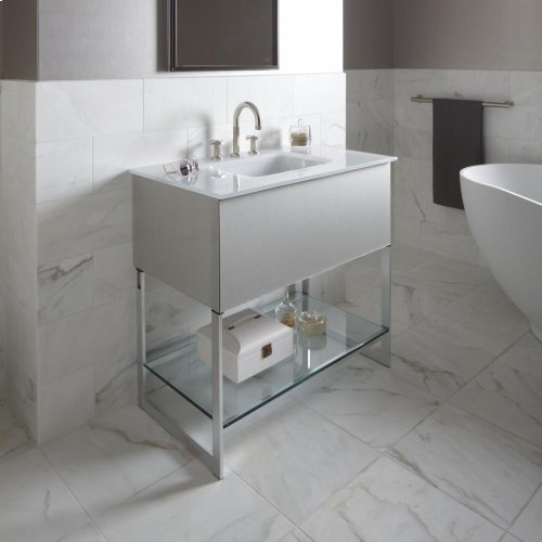 """Adorn 36-1/4"""" X 34-3/4"""" X 21"""" Vanity In Silver Screen With Slow-close Plumbing Drawer, Towel Bar On Left Side, Legs In Brushed Aluminum and 37"""" Stone Vanity Top In Quartz White With Integrated Center Mount Sink and 8"""" Widespread Faucet Holes"""
