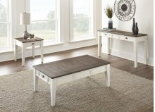 "Cayla End Table, Dark Oak/White 24""x24""x24"""