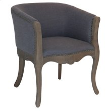 Huntley Distressed Wood and Grey Linen Upholstered Club Chair