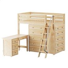 High Loft w/ Angle Ladder, 2 x5 Drawer Dressers & Desk : Twin : Natural : Slat