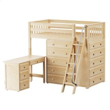 High Loft w/ Angle Ladder, 2 x5 Drawer Dressers & Desk : Twin : Natural : Slat