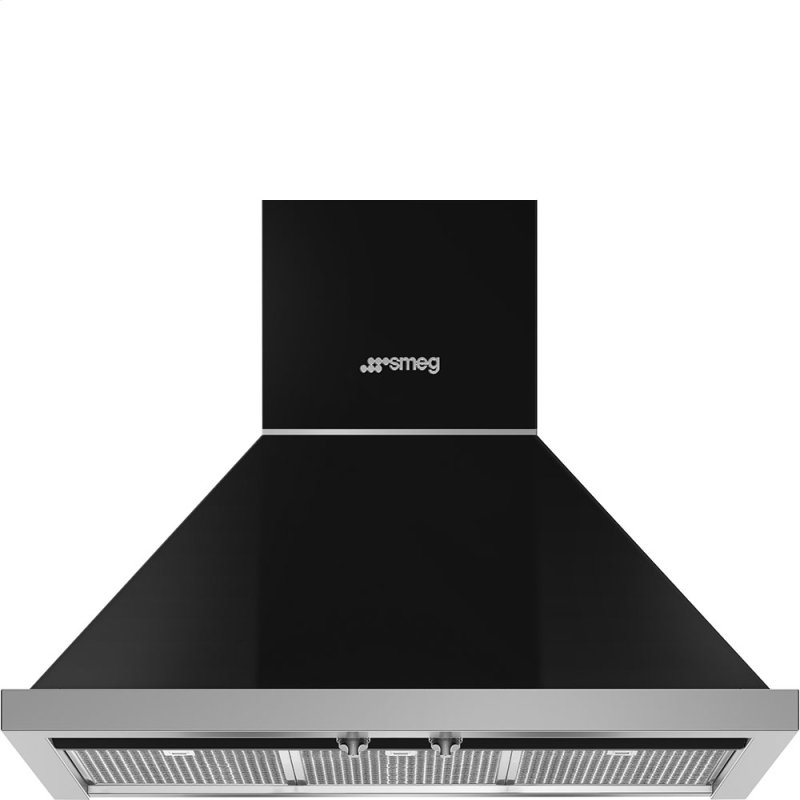 "30"" Portofino Chimney Hood, Black"