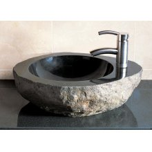 Natural Vessel With Faucet Mount Black Granite