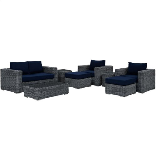 Summon 8 Piece Outdoor Patio Sunbrella® Sectional Set in Canvas Navy