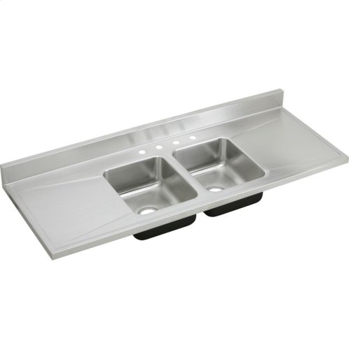 "Elkay Lustertone Classic Stainless Steel 66"" x 25"" x 7-1/2"", Equal Double Bowl Sink Top"