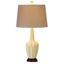 Distressed Ivory Faceted Long Neck Table Lamp. 60W Max.