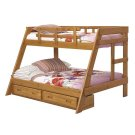 Heartland A-Frame Bunk Bed with options: Honey Pine, Twin over Full, 2 Drawer Storage Product Image