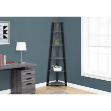 "BOOKCASE - 72""H / GREY-BLACK CORNER ACCENT ETAGERE"