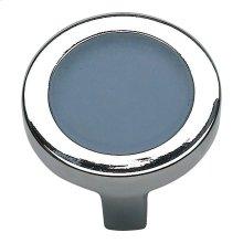 Spa Blue Round Knob 1 1/4 Inch - Polished Chrome