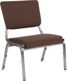 1500 lb. Rated Brown Antimicrobial Fabric Bariatric Chair with 3/4 Panel Back and Silver Vein Frame