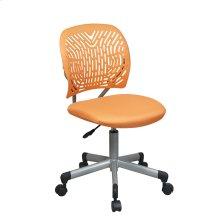 Designer Task Chair In Orange Fabric and Plastic Back