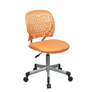 Designer Task Chair In Orange Fabric and Plastic Back