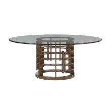 Meridien Round Dining Table With Glass Top 60 Inch