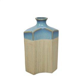 "Ceramic 11.75"" Vase, Blue/ivory"