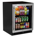 "MARVELMarvel Low Profile 24"" Beverage Center - Stainless Frame Glass Door - Right Hinge"