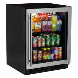 "MarvelMarvel Low Profile 24"" Beverage Center - Stainless Frame Glass Door - Left Hinge"