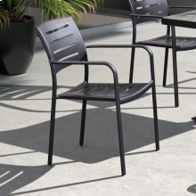 Armen Living Zander Stackable Outdoor Patio Dining Chair in Gray Finished Cast Aluminum - Set of 2