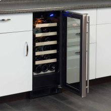 "15"" Standard Efficiency Single Zone Wine Cellar - Stainless Frame Glass Door* - Left Hinge"