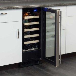 "Marvel15"" Standard Efficiency Single Zone Wine Cellar - Stainless Frame Glass Door* - Left Hinge"