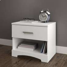 1-Drawer Nightstand - End Table with Storage - Pure White