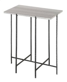 Bengal Manor Solid Iron Accent Table Grey Marble Top
