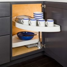 """35"""" Half-Moon Lazy Susan Set with White Plastic Trays. For a 15"""" Cabinet Opening. Shelves Pivot and Pull Out of the Cabinet Independently. Shipped in Left-hand Configuration but Universal Design. Positive Stop Prevents Trays from Hitting the Back of the Cabinet and Door. White Plastic Trays with Chrome Pole and Hubs"""