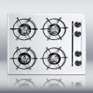 "24"" wide gas cooktop in white, with four burners and gas spark ignition Product Image"