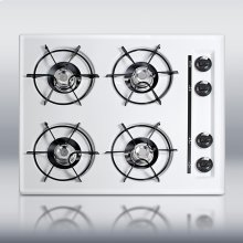 "24"" wide gas cooktop in white, with four burners and gas spark ignition"