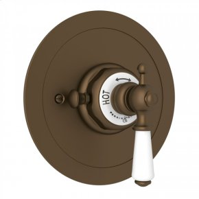 English Bronze Perrin & Rowe Edwardian Era Round Thermostatic Trim Plate Without Volume Control with Metal Lever