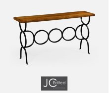 Country Walnut Console for Circular Wrought Iron Base