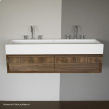 Wall-mount undercounter vanity with large wood pulls on two drawers. Washbasin #5103 sold separately.