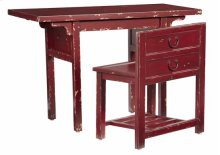 Desk w/ Chair - Distressed Sangria Finish
